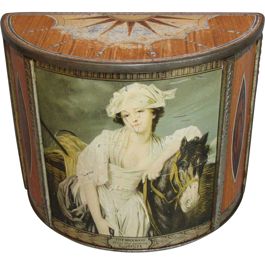 Vintage British Biscuit Tin, MILKMAID Tea Caddy, CARR'S
