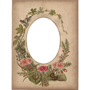 Lovely Floral Page from Victorian Photograph Album, Cabinet Photo Opening