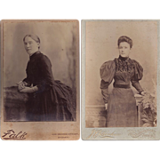 Pair of Cabinet Photographs, Women in Victorian Dress