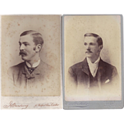 Pair of Cabinet Photographs, Young Men, Mustaches