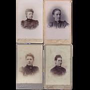 Group of 4 Carte-de-Visite Photographs, Young Women