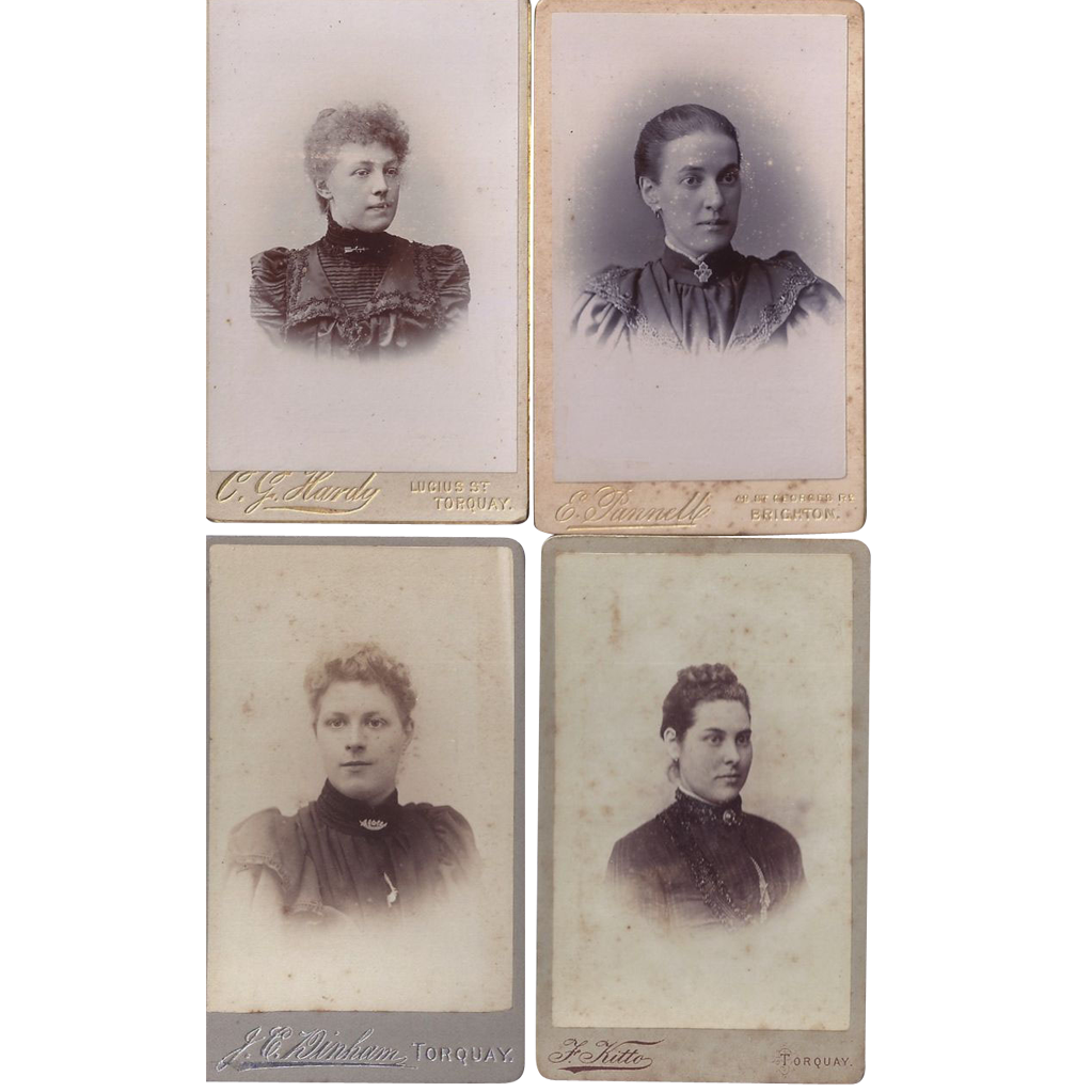 Group of 4 Carte-de-Visite Photographs, Young Women