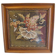 Lovely Victorian Beaded Needlepoint, Framed