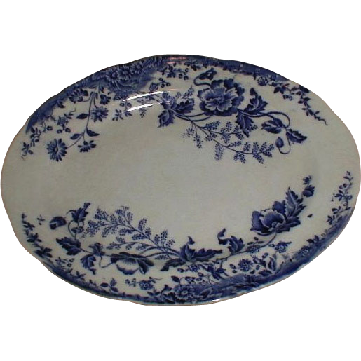 Lovely Blue Printed Floral Oval Platter, Not Marked