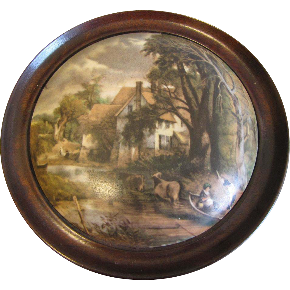 Collectible Framed Pot Lid, House and Landscape