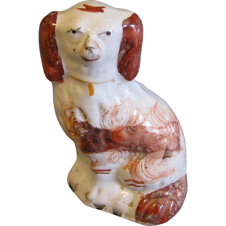 19th Century Red & White Staffordshire Dog, Miniature