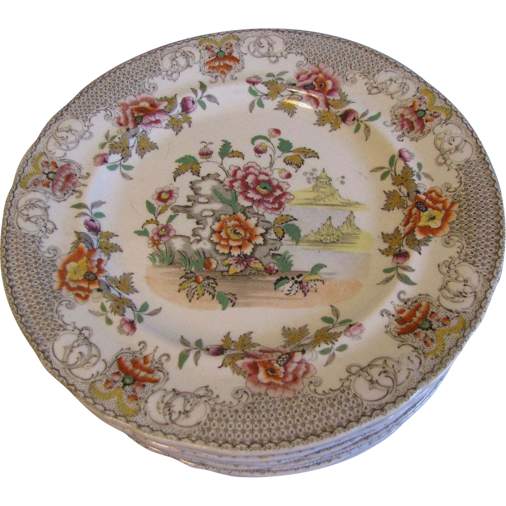 Lovely Early 19th Century Plate, 6 Available