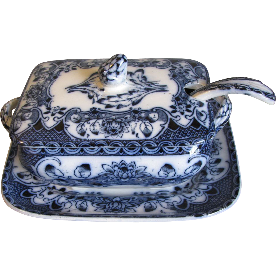 Lovely Flow Blue Sauce Tureen, Ladle, Underplate