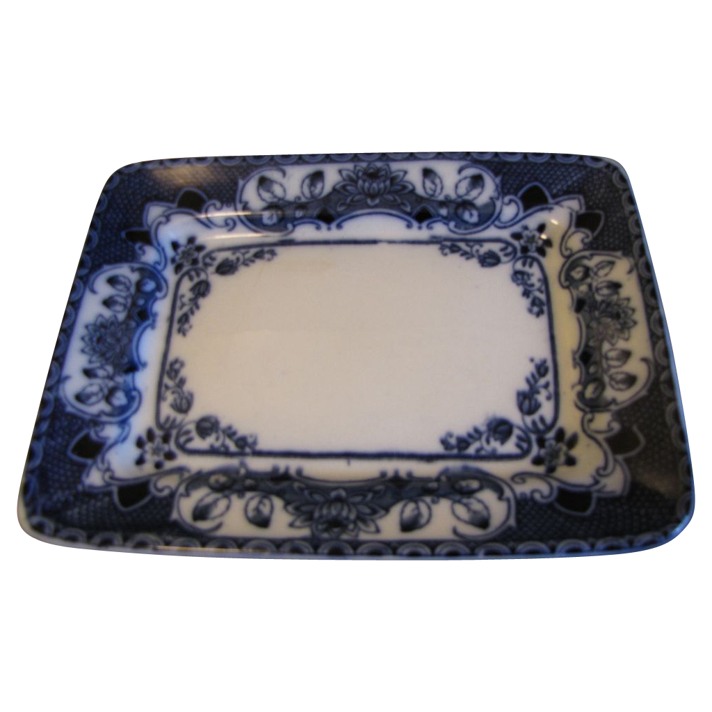 Lovely Small Rectangular Flow Blue Platter