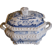 Light Blue Transferware Sauce Tureen, Chinese Marine
