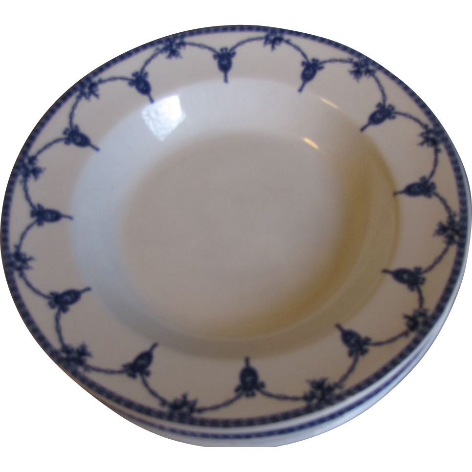 Lovely Vintage Blue & White Soup Bowl, KINGSTON, Keeling