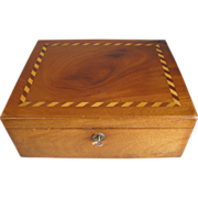 Lovely Antique Mahogany Box, Wood Inlay