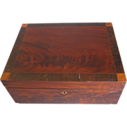 Antique Mahogany Writing or Sewing Box, Inlay