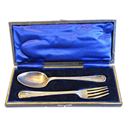 English Silverplate Spoon & Fork in Box, William Hutton & Sons