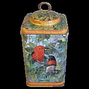 Vintage Colorful Tea Tin, Birdcage with Birds,  Keller  Charles Kurki