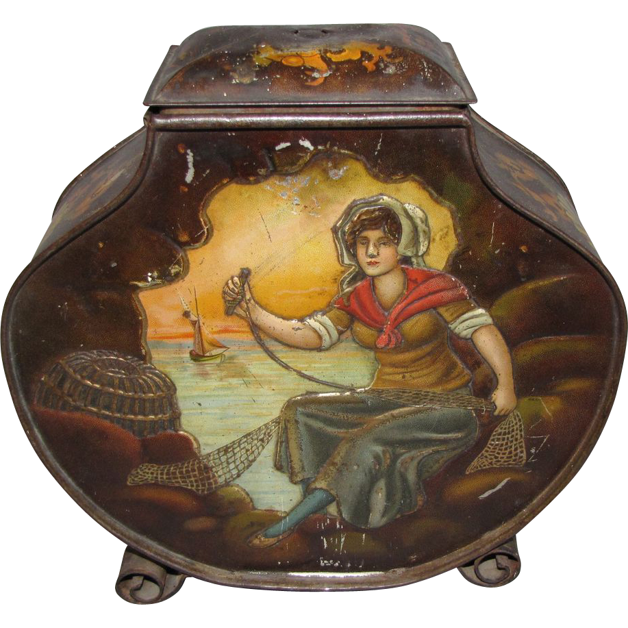 Wonderful 1898 Biscuit Tin, H & P, Fisherman and His Wife