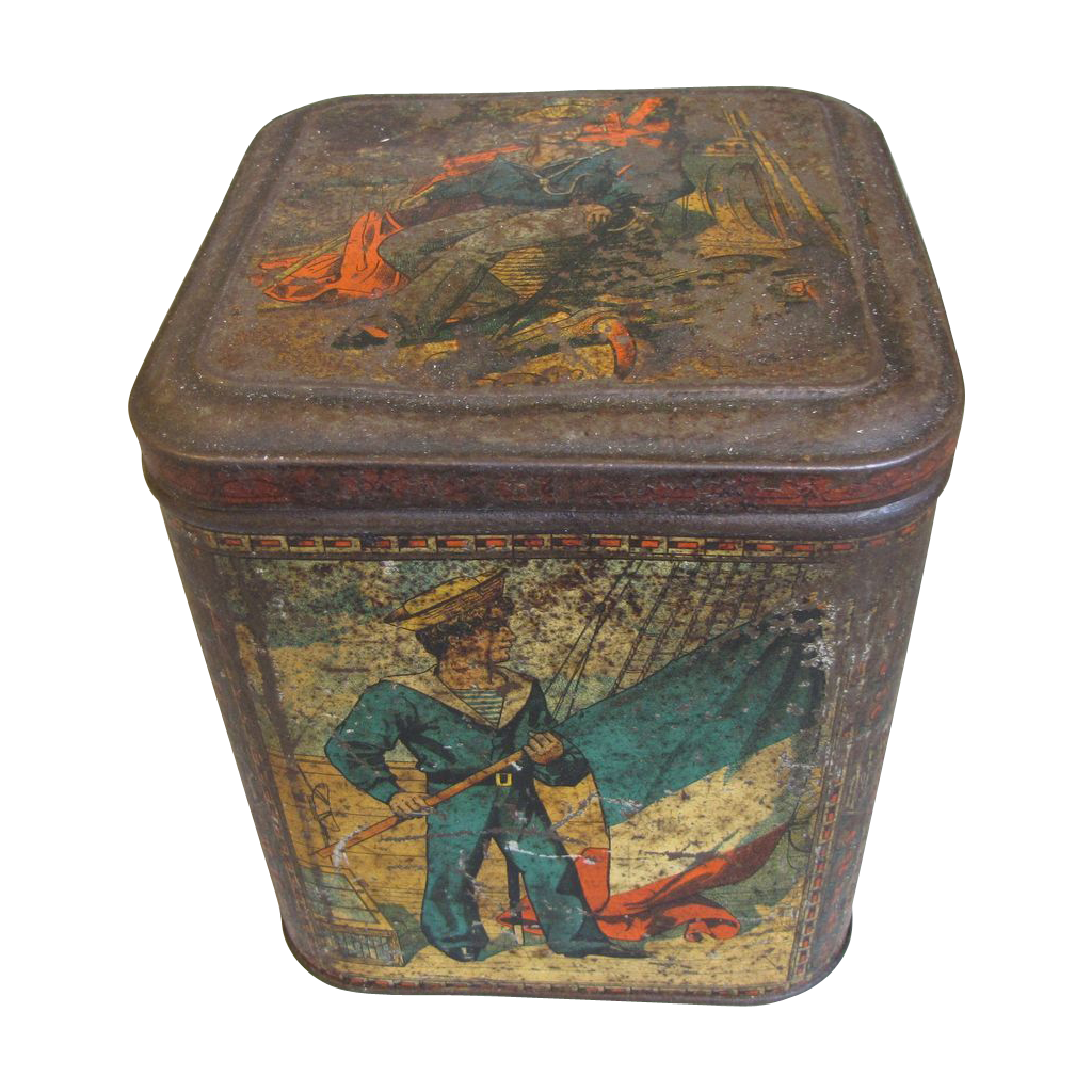 Very Rare 1888 Huntley & Palmers Biscuit Tin, SAILOR