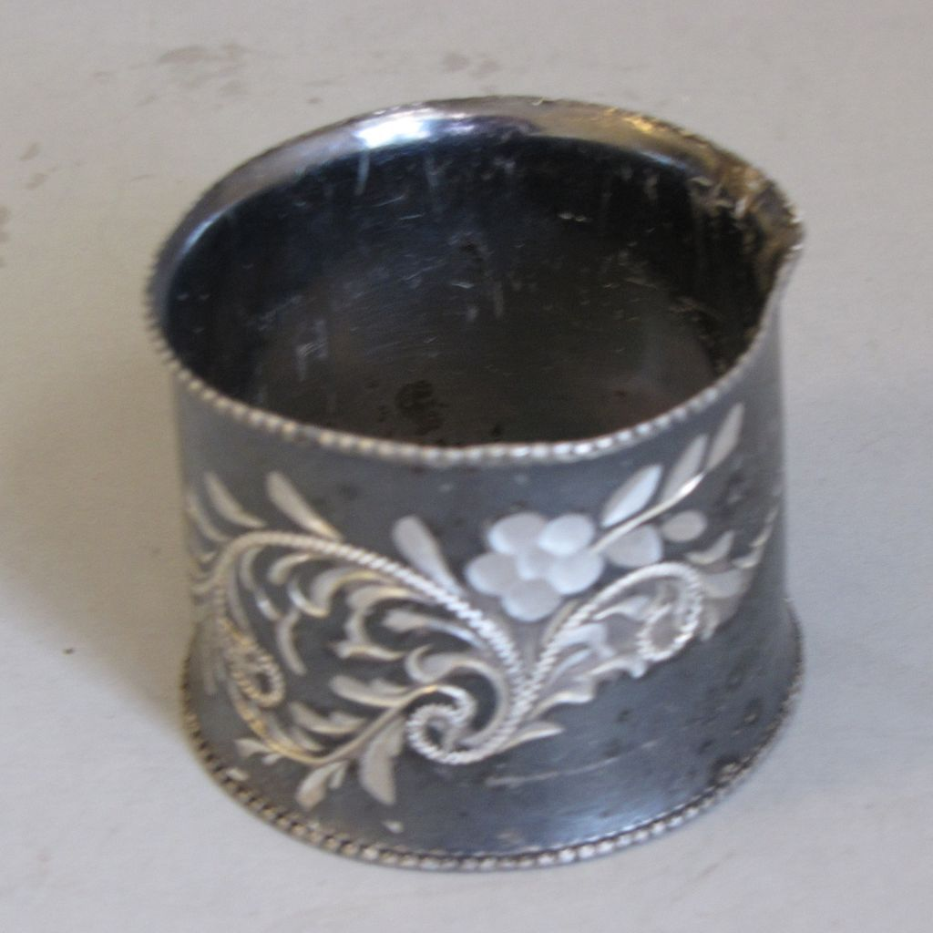 Antique Silver Plated Napkin Ring, Engraved