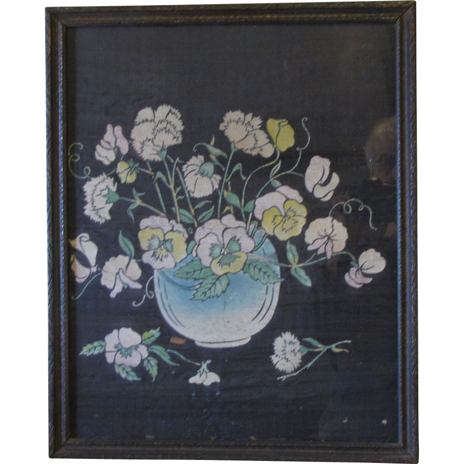 Vintage Framed Floral Painting on Silk, Under Glass