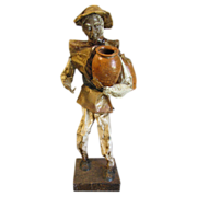 Vintage Paper Mache Figure of A Man Carrying Clay Pots