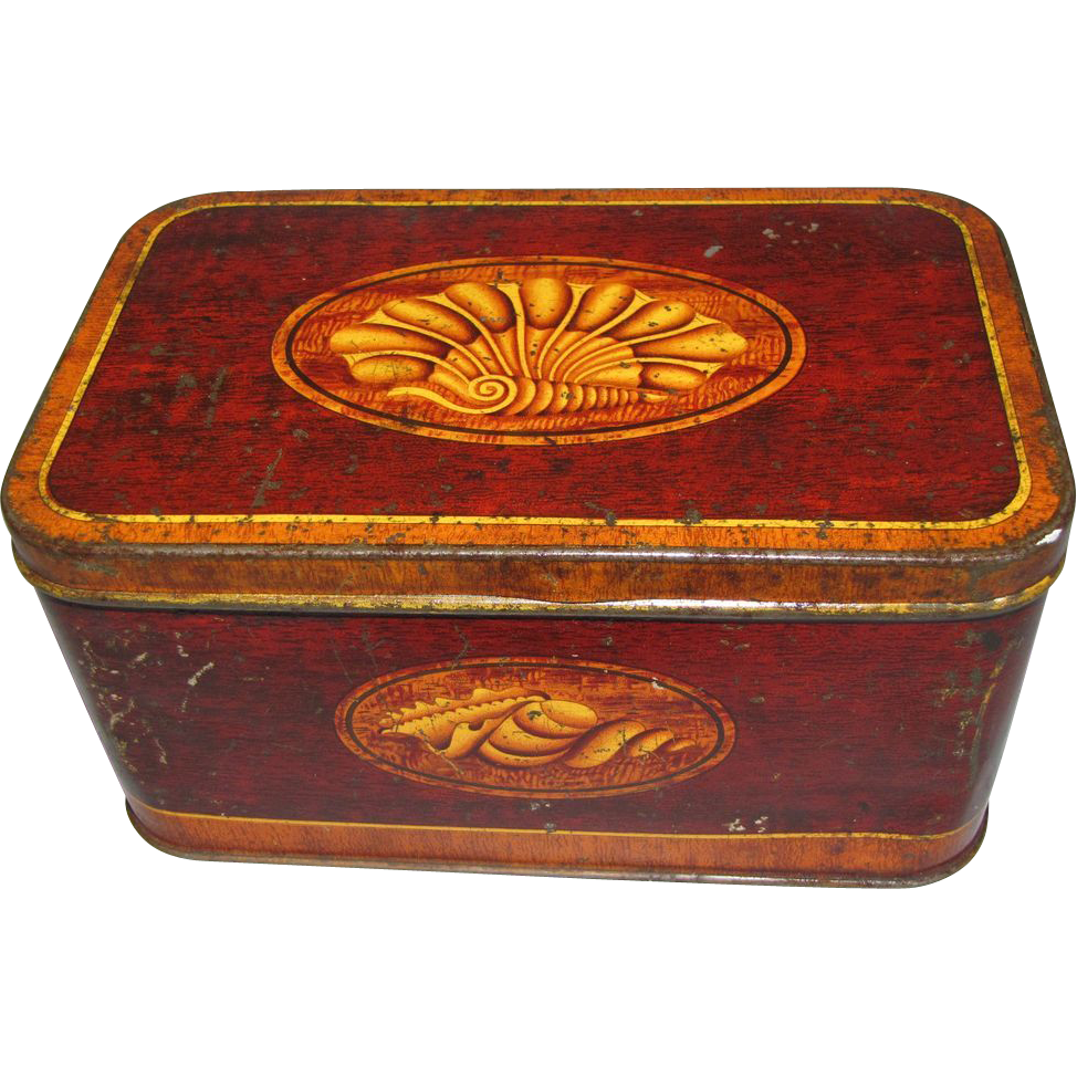 Lovely Vintage Faux Wood-Grain Tin, Mansion Polish