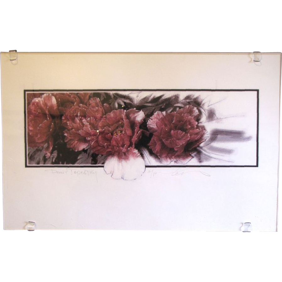 Lovely Silkscreen Print by Charles E. McGough, Peony Tapestry