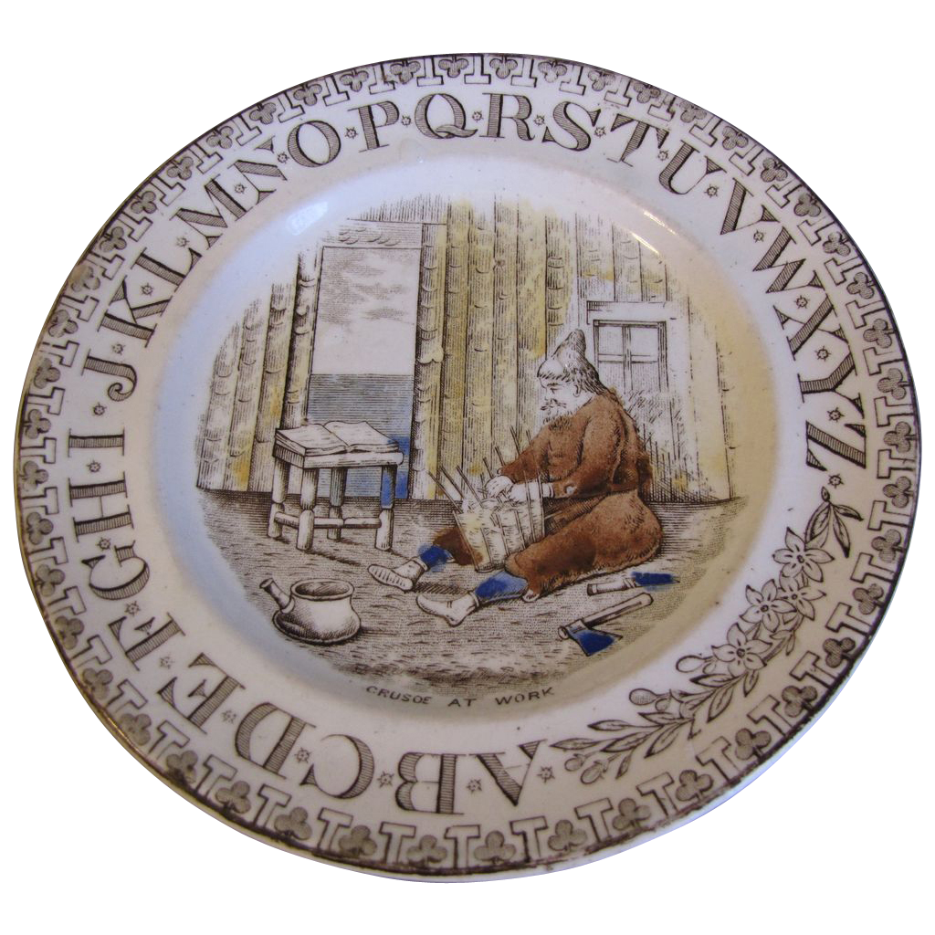 Brown Transferware ABC Plate CRUSOE At Work