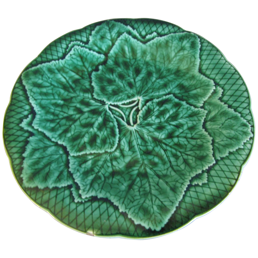 Antique French Majolica Greenware Ivy Plate