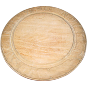 Vintage Round Carved Bread Board, Waste Not, Want Not