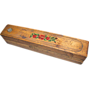 Antique Folk Art Wood Pencil Box, 3 Layer