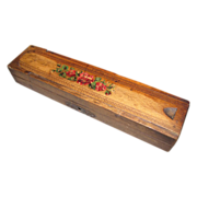 Antique Folk Art Wood Pencil Box, 2 Layer
