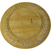 Lovely English Round Bread Board, Nicely Carved