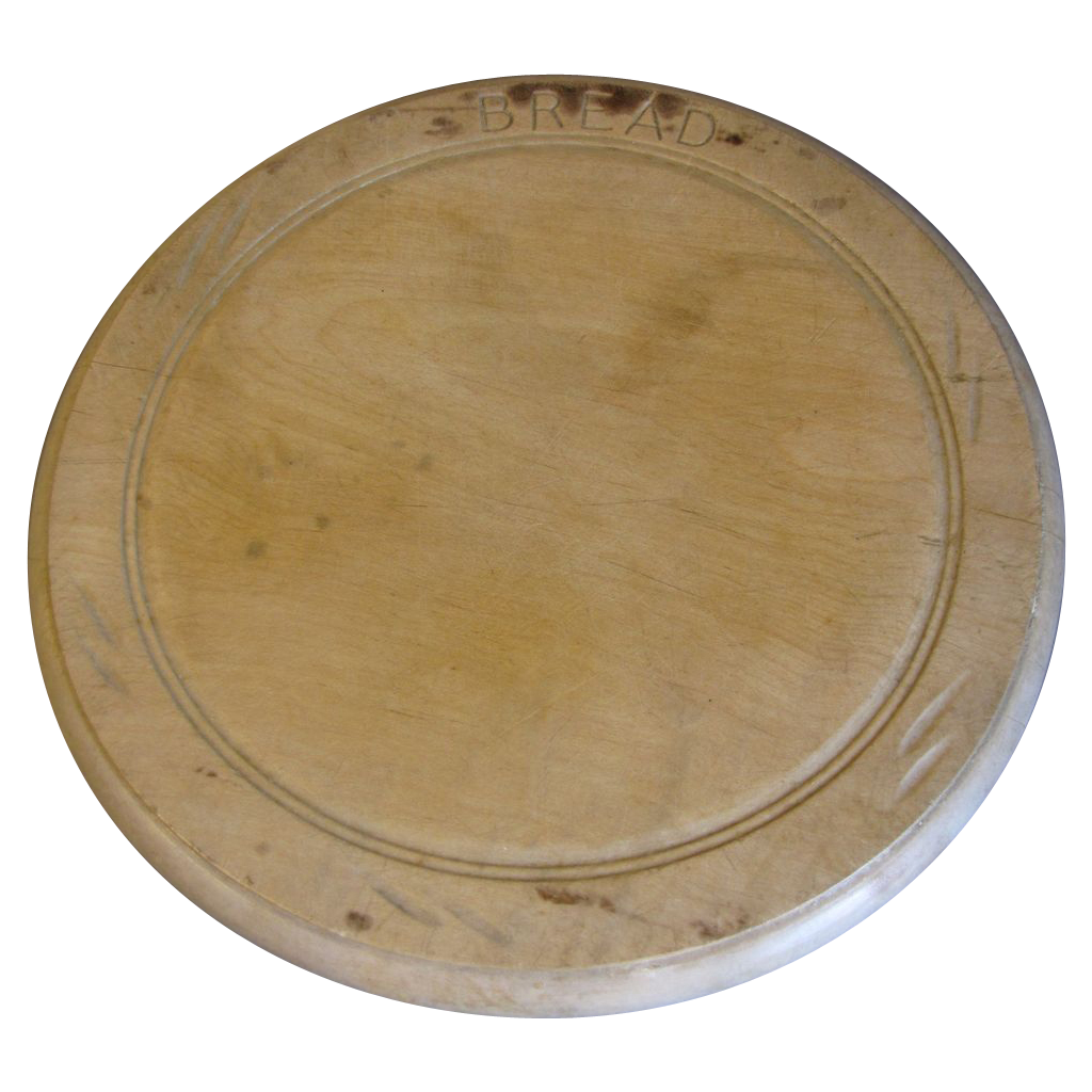 Vintage Round Carved Bread Board, English, BREAD