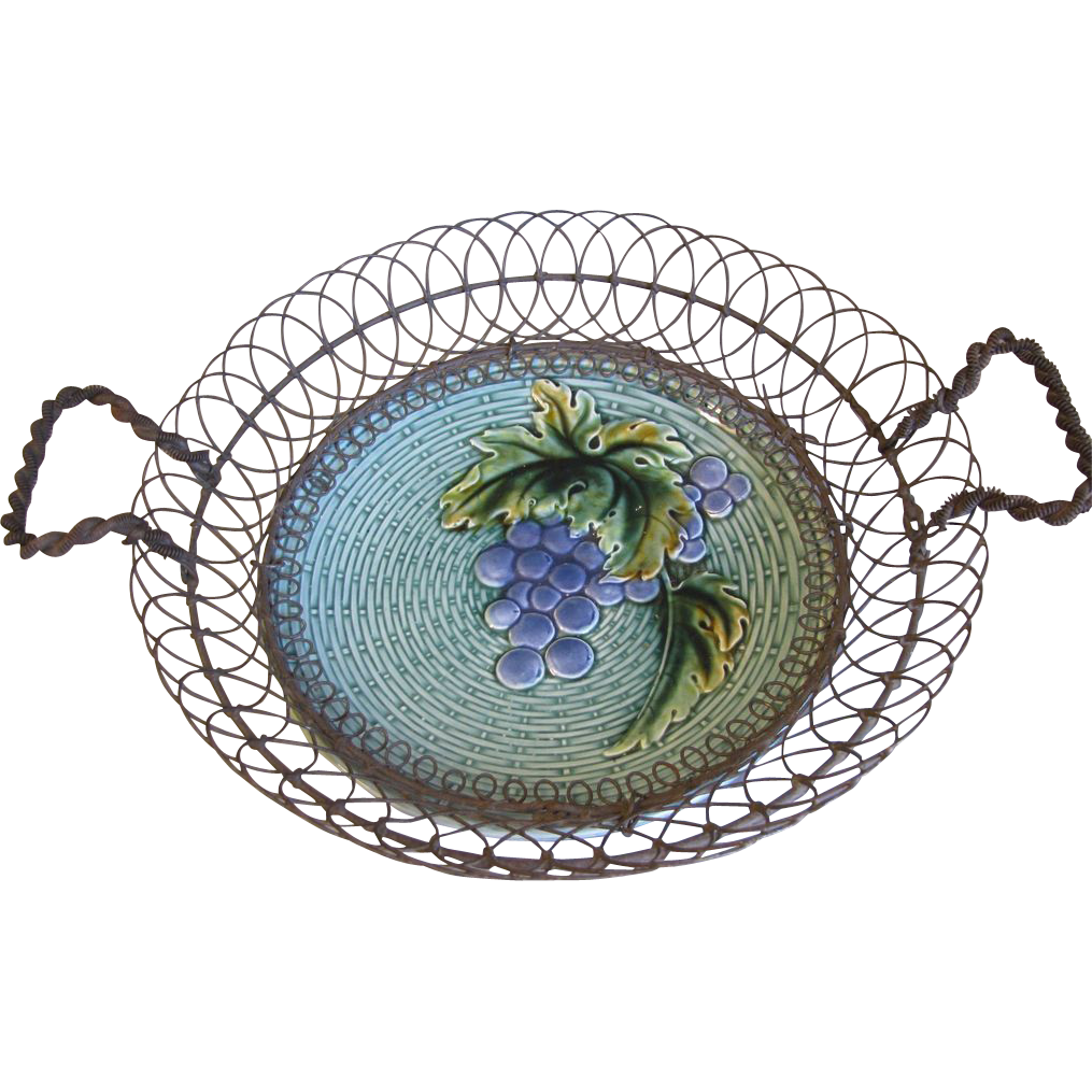 Lovely Wireware Basket w/Majolica Plate, German Zell