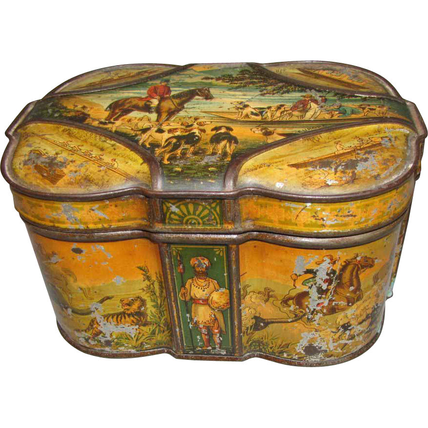 Rare 1891 Huntley & Palmers British Biscuit Tin, WORLD