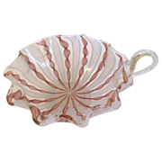 Gorgeous Vintage Pink Latticina Murano Glass Dish w/Handle