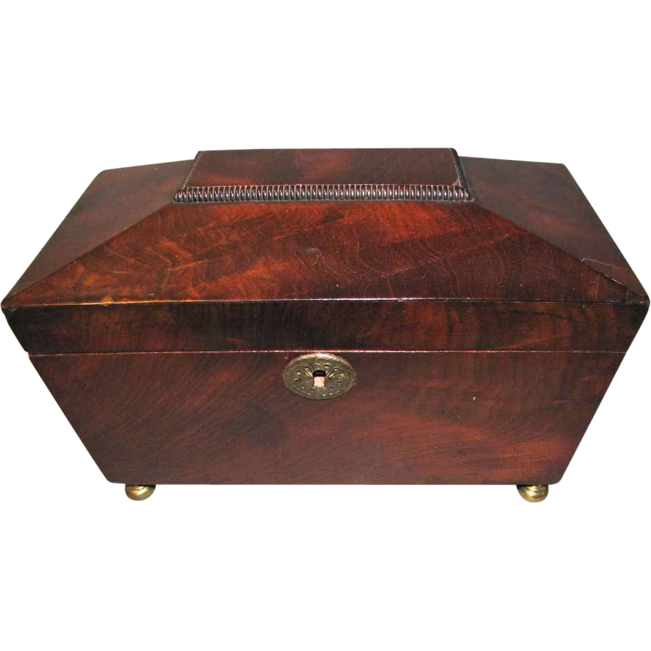 Antique 3-Compartment Mahogany Tea Caddy