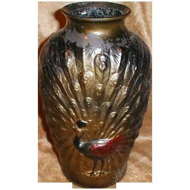 Large Peacock Goofus Glass Vase, Original Paint
