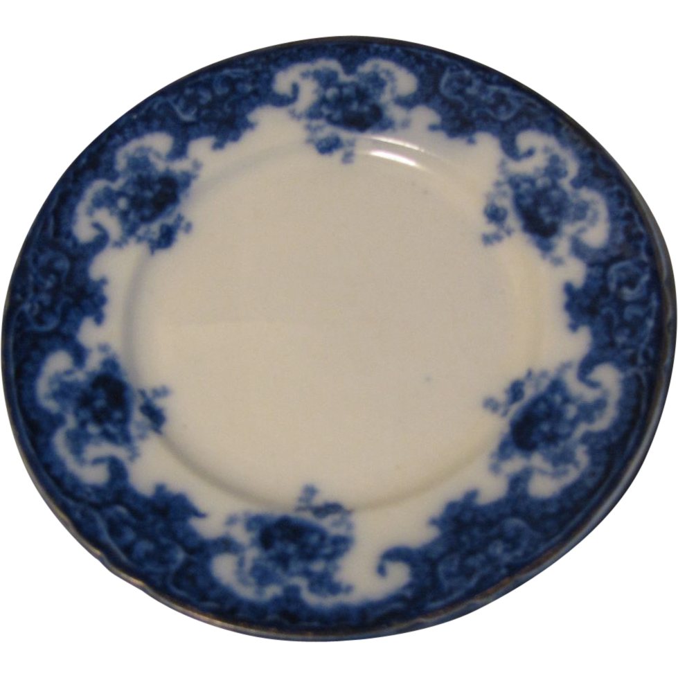 19th C. Flow Blue Plate, W. Adams & Sons