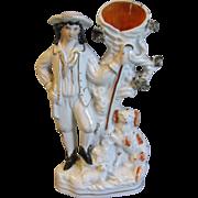 19th C. Staffordshire Figure, Shepherd Spill Vase