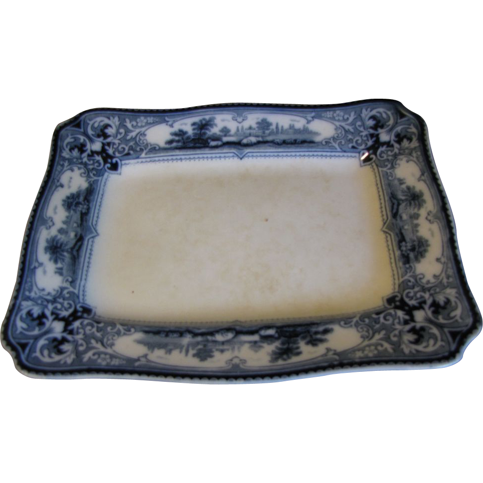 Small Rectangular Flow Blue Platter, VERONA