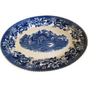 Large Blue Transferware Platter AVON COTTAGE Hughes