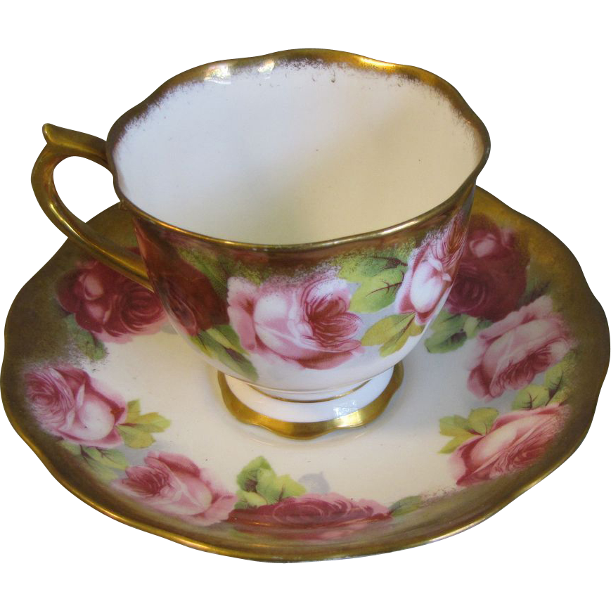 Gorgeous Royal Albert Crown China Cup & Saucer, ROSES