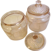 Pink Depression Glass Dresser Jars (2)