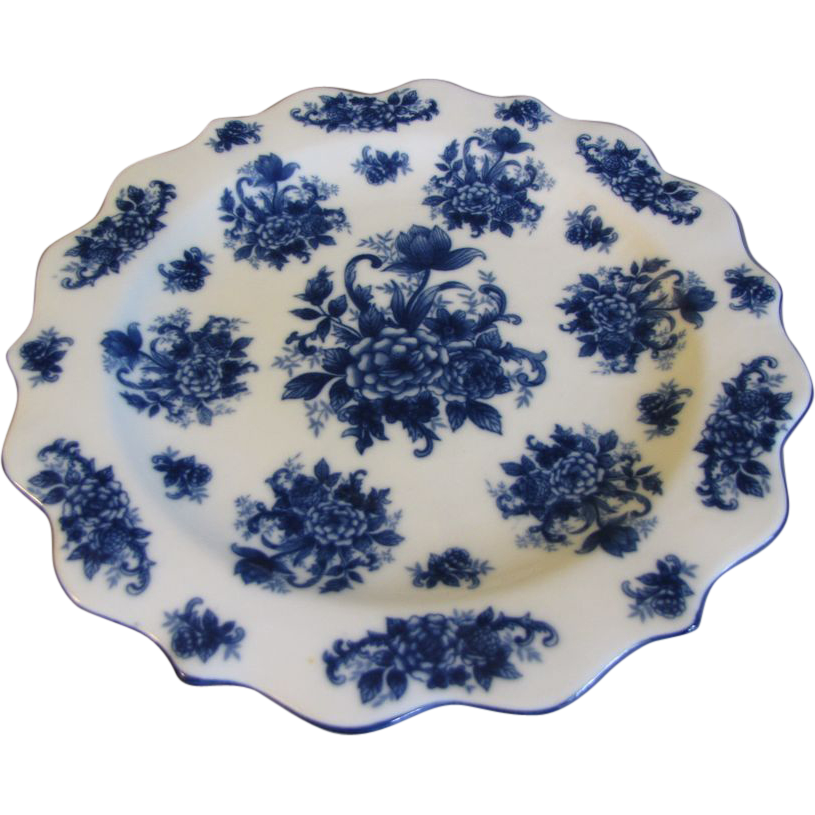 Lovely Blue & White Floral Charger, Decorative