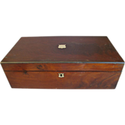 Large 19th Century Lap Desk, Mahogany Box