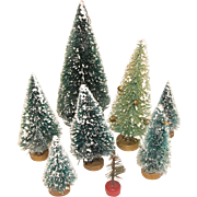 Group of 8 Vintage Bottle-Brush Christmas Trees