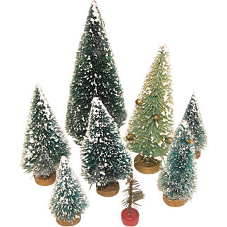 Group of 8 Vintage Bottle-Brush Christmas Trees