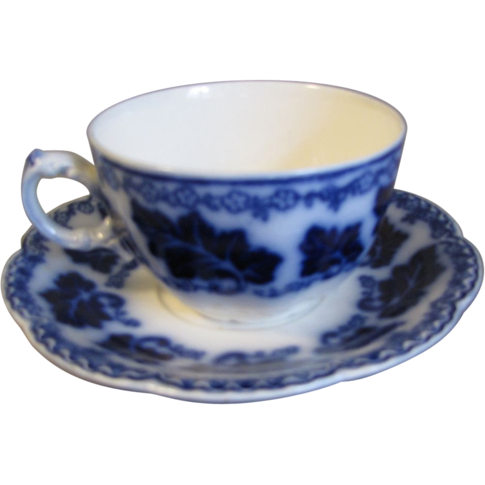 Lovely Flow Blue Teacup & Saucer NORMANDY Johnson Bros.