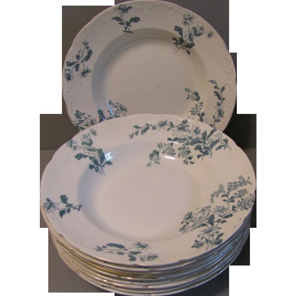 Vintage Green Transfer Printed Soup Plates, CASTELAR